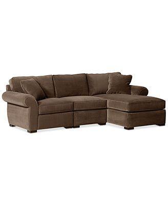 Trevor Fabric 3 Piece Chaise Sectional Sofa   Macys.com $1169