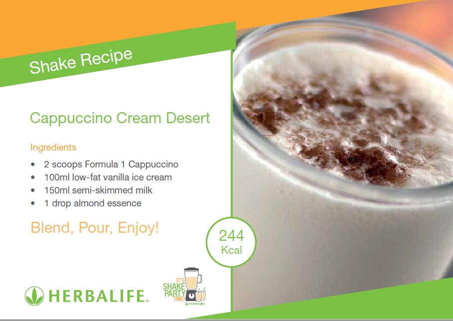 Shake Recipes Cappuccino Cream Desert Herbalife Shake Recipes Shake Recipes Herbalife Recipes