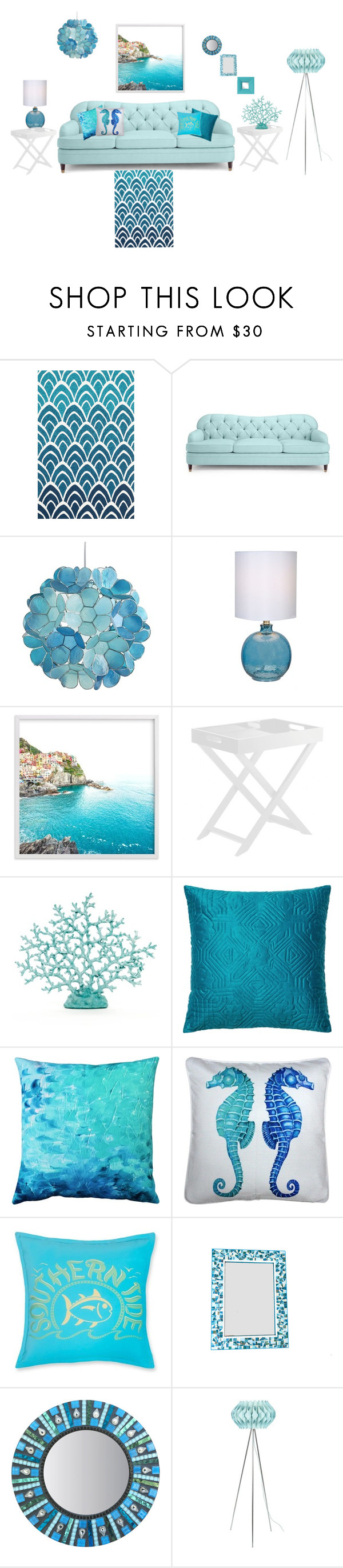 """""""Turquoise Living Room"""" by siriusfunbysheila1954 ❤ liked on Polyvore featuring interior, interiors, interior design, home, home decor, interior decorating, Loloi Rugs, Kate Spade, Pier 1 Imports and Pillow Decor"""