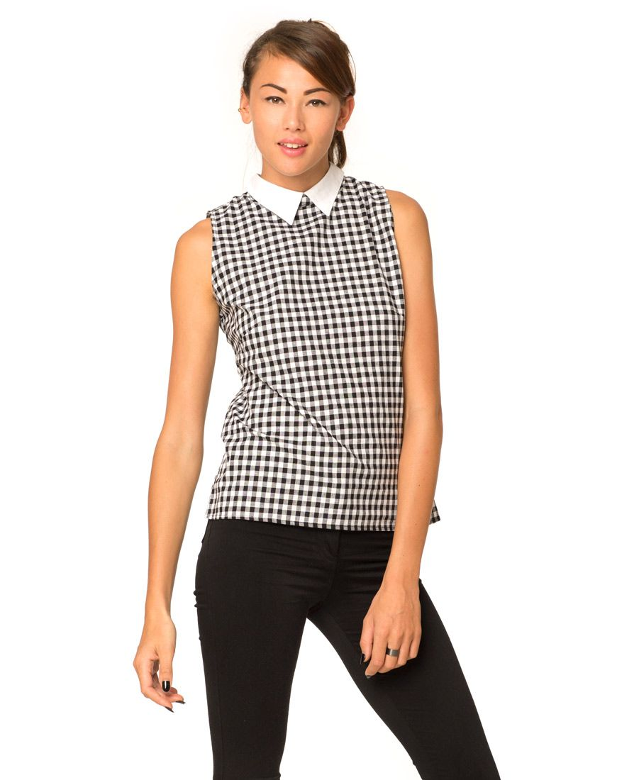 Motel Carys Collared Top in Check Black White, TopShop, ASOS, House of Fraser, Nasty gal