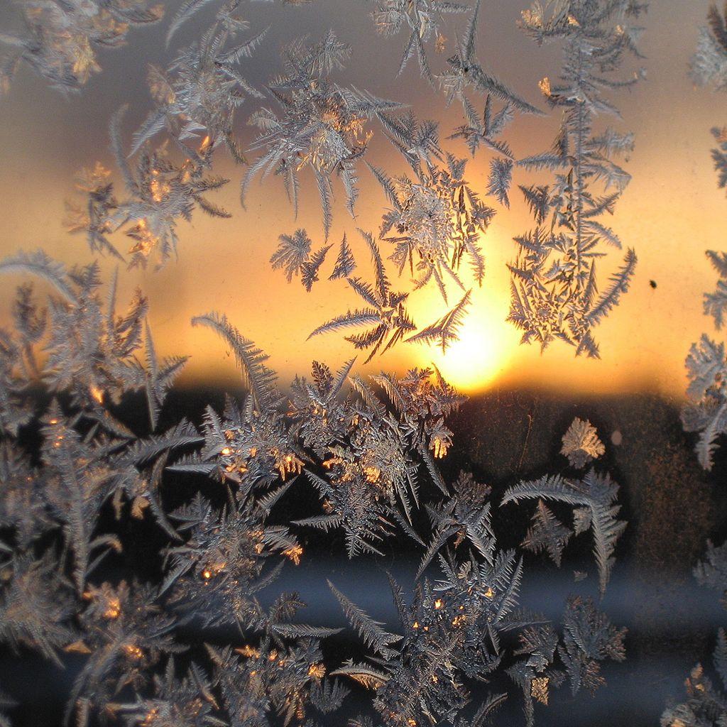 Sunset Snowflake Glass iPad Wallpapers Beautiful