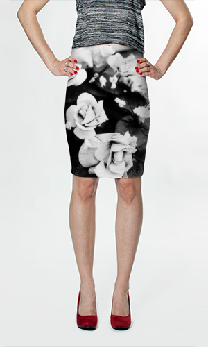 B&W Flower Fitted Skirt $36.00 AUD by Moonriver Clothing