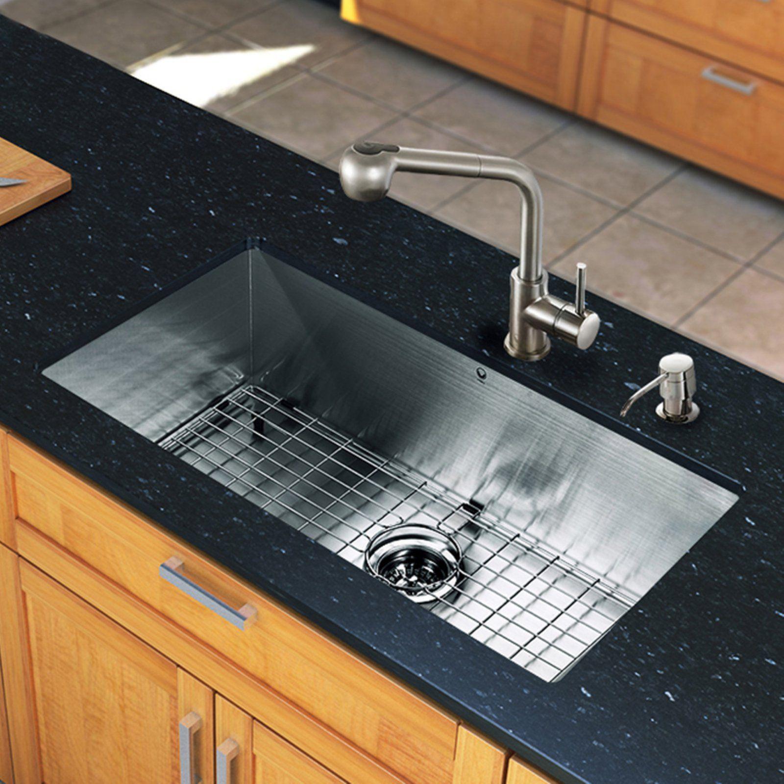 Vigo All In One Vg15248 Single Basin Undermount Kitchen Sink And