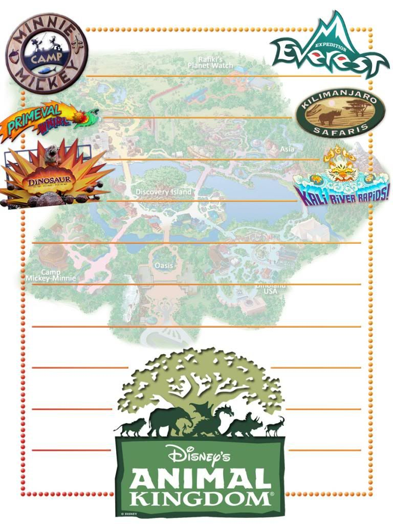 Journal Card Animal Kingdom With Logos Lines 3x4 Disney Scrapbook Pages Disney Project Life Disney Cards