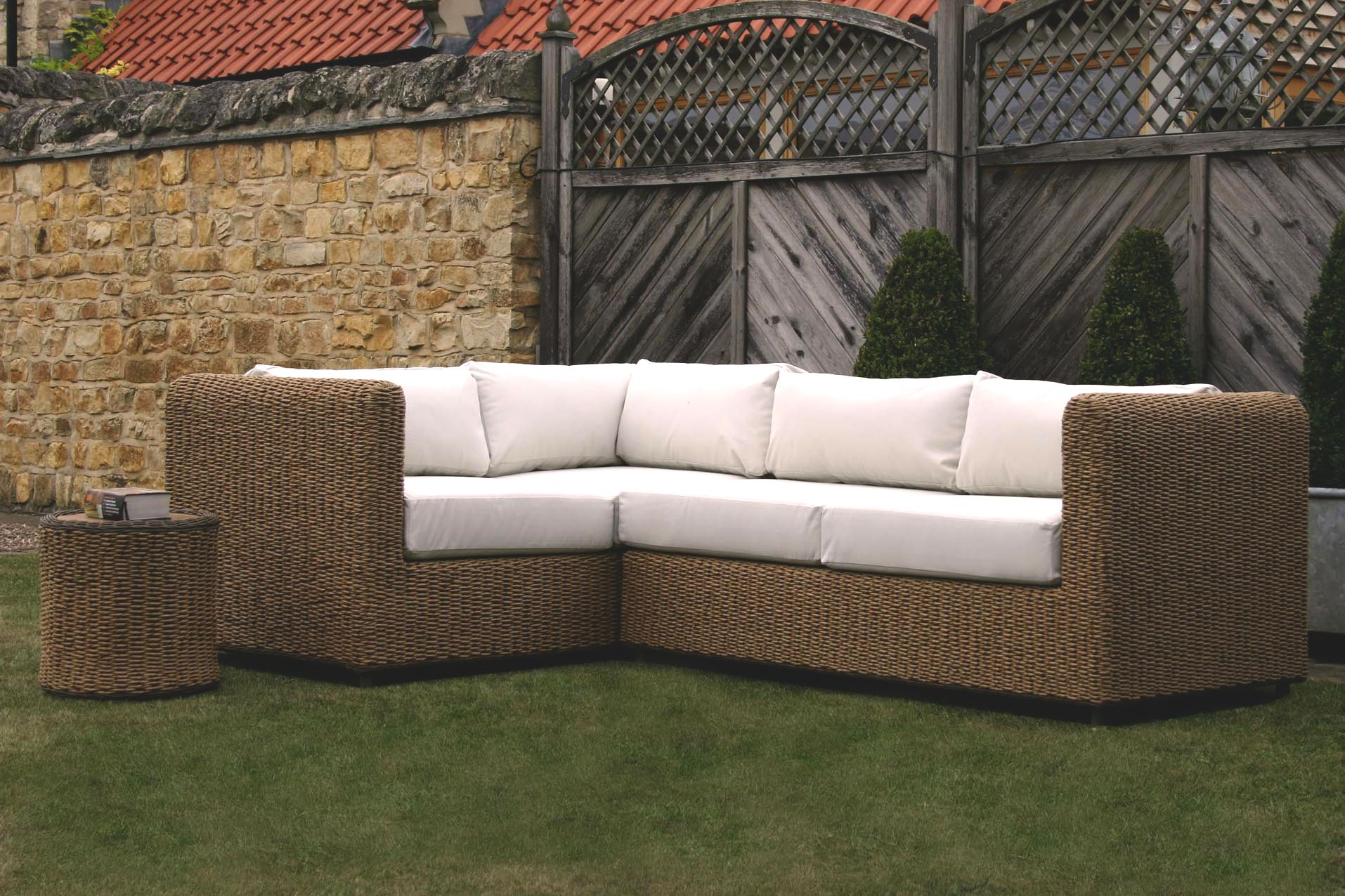 Our New Malibu Garden Corner Sofas Woven With Bespoke Outdoor Cushions In A Range Of Fabric Colours With Images Outdoor Sofa Outdoor Cushions Relaxing Outdoors