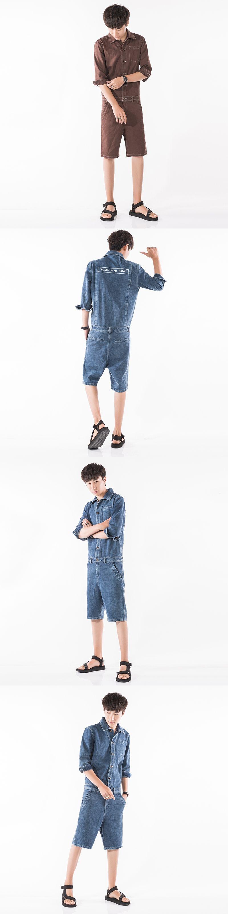 653b376d8eed Summer Men Denim Shorts Jumpsuits Rompers Harem Shorts Zipper Fashion  Casual Jeans Jumpsuits Slim Fit Shorts