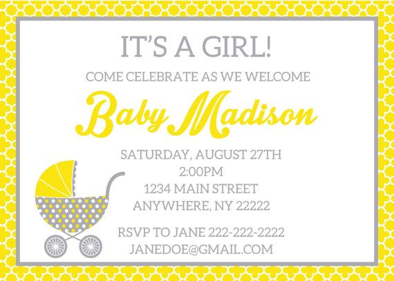 Yellow and grey baby shower invitation; modern baby shower invitation; vintage stroller baby shower invitation