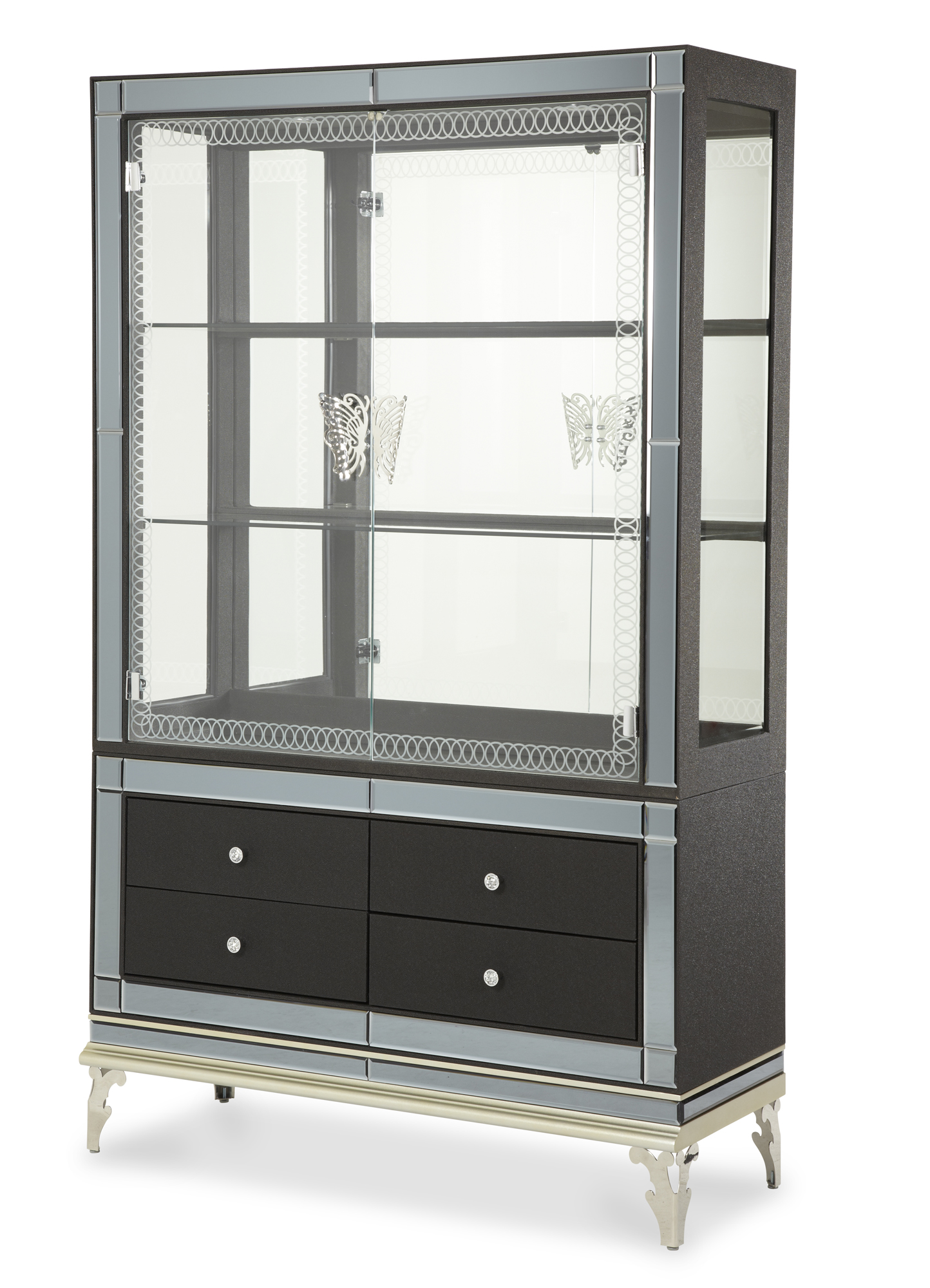 Hollywood Swank Curio Cabinet with Drawers in Caviar | AICO | Home ...