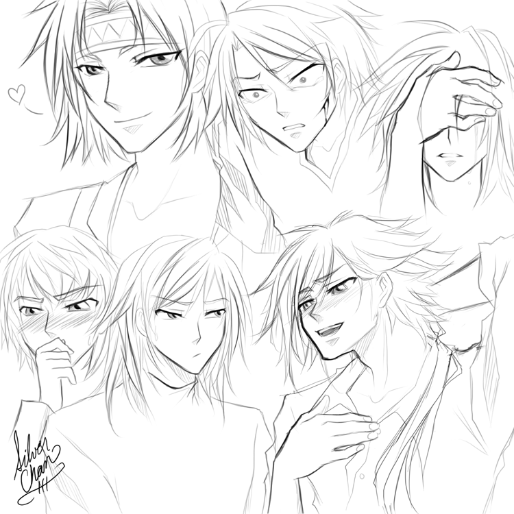 generic bishounen faces by lightsilverstar
