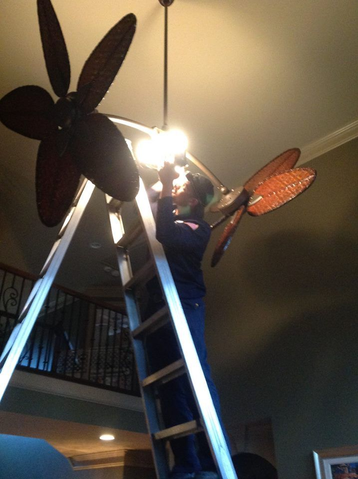 Double Ceiling Fan It Makes This Electrician Look Small But The Man Is Over 6 Ft Tall Te Certified Electricians 770 667 6937