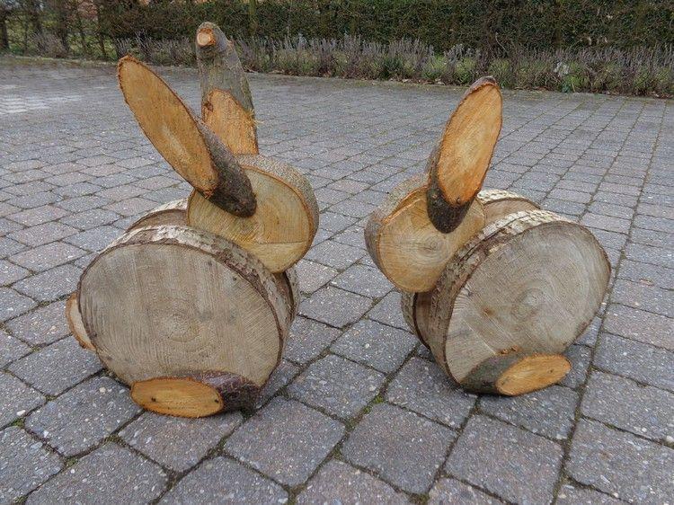 Hasen Basteln Mit Baumscheiben Deko Ostern Garten Ostern Garten Ostern Basteln Holz Hasen Basteln