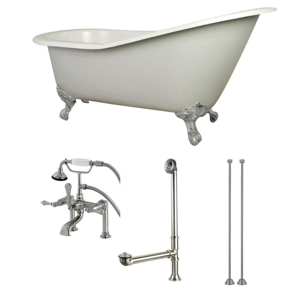 Slipper ft cast iron clawfoot bathtub in white with faucet combo