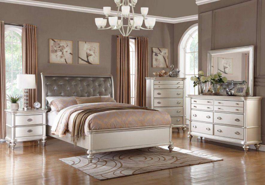 4 pc silver queen bedroom set platform bed diamond tufted