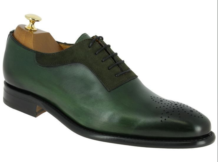 Handmade Men Suede Shoes Brogue Toe Dark Green Leather Shoe