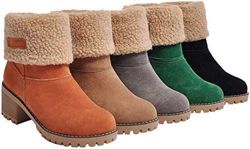 c99124ed3b9d0 Amazon.com | DOTACOKO Women Cute Warm Short Boots Suede Chunky Mid ...