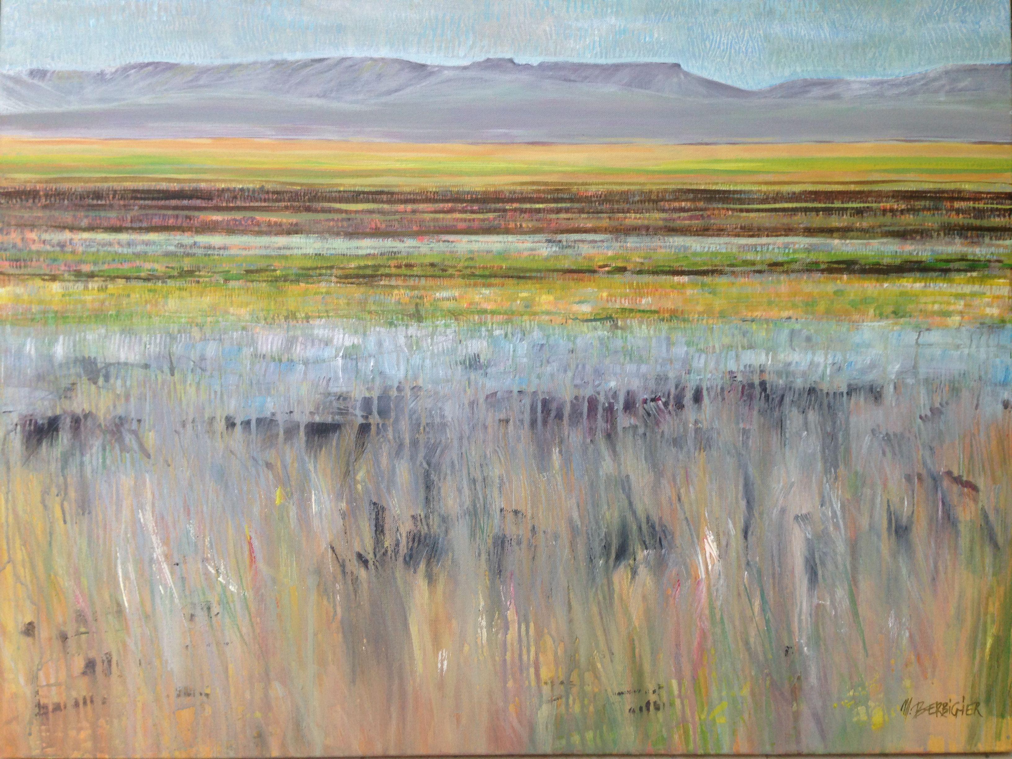 """""""Montagnes et plaine"""" acrylique sur toile 81 x 100cm"""