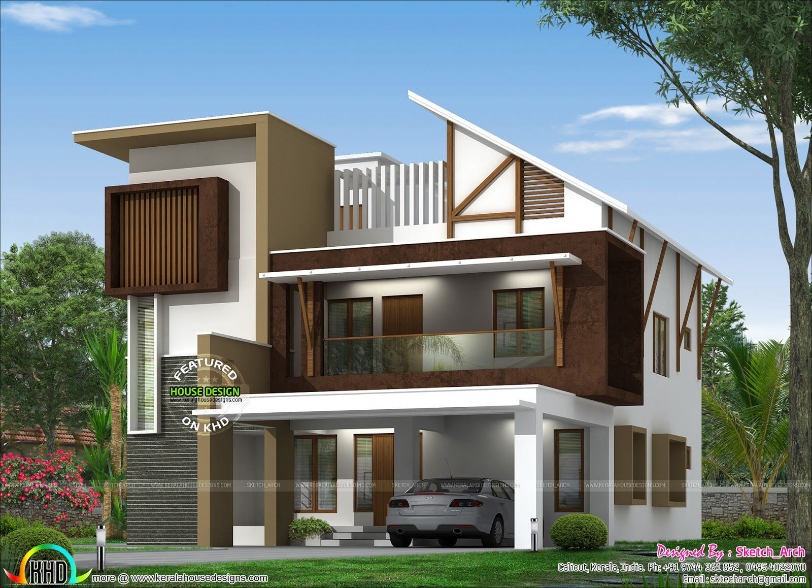 4 Bedroom Curved Roof Mix Contemporary Home Part - 34: 2900 Square Feet, 4 Bedroom Modern Mix Box Type Home Plan By Sketch_Arch  From Calicut, Kerala.