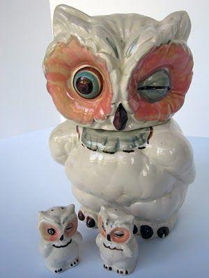 Shawnee Owl Cookie Jar With Matching Salt & Pepper