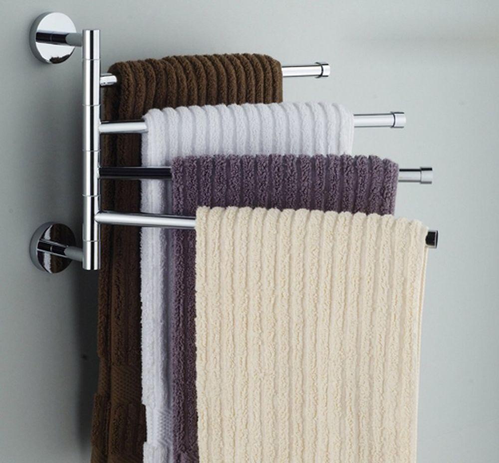Bekith 16 inch Wall-Mounted Stainless Steel Swivel Bars Bathroom Towel Rack H...