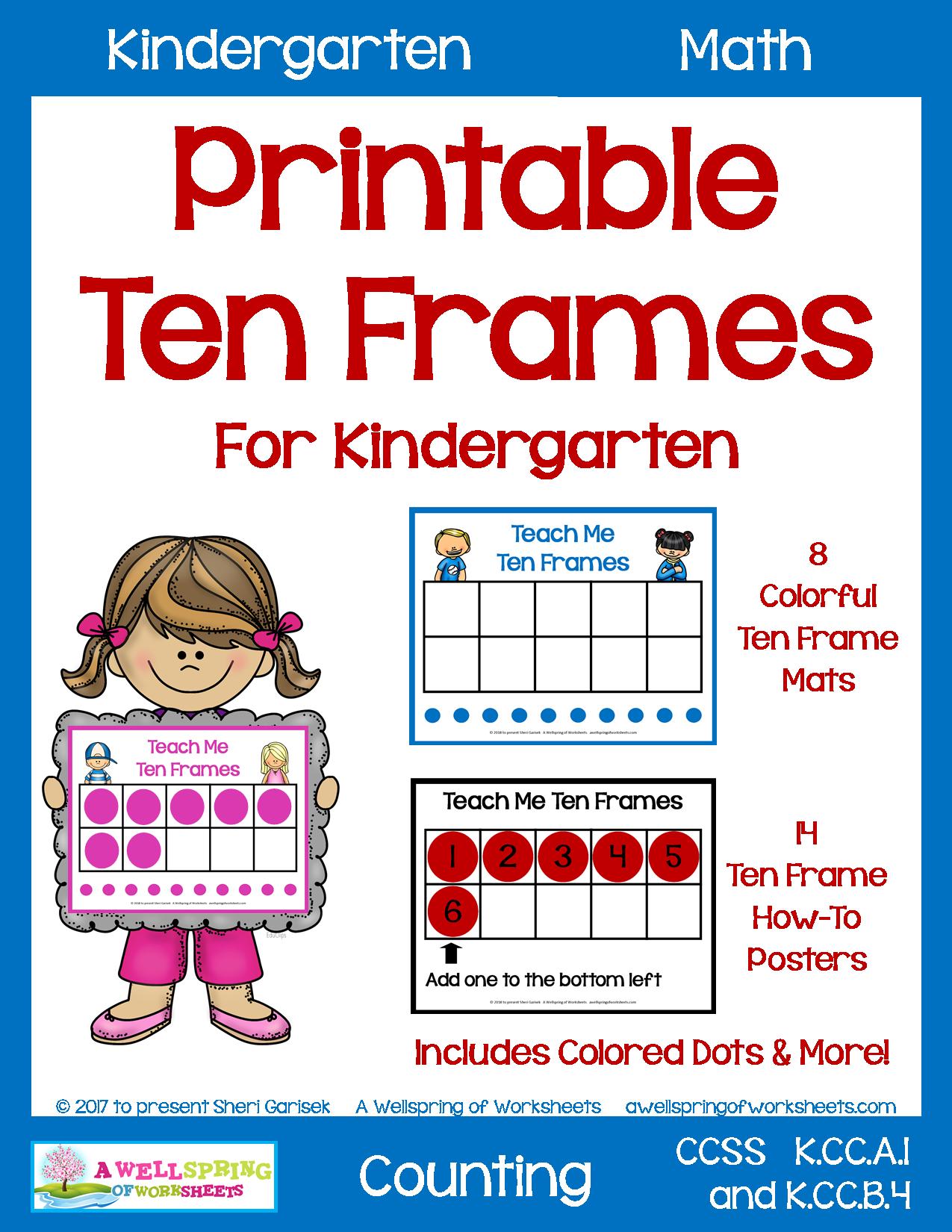 Printable Ten Frames For Kindergarten Teaching Kindergarten Teaching Kindergarten Math Ten Frames [ 1650 x 1275 Pixel ]