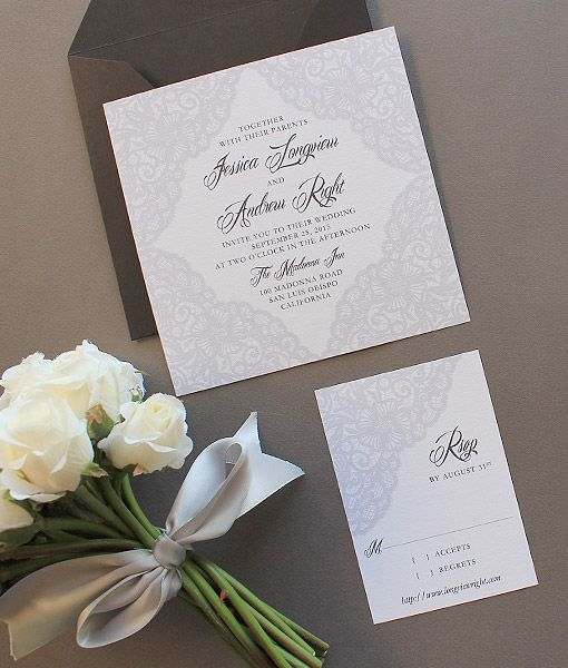 Elegant Lace RSVP Template Invitation templates Lace weddings