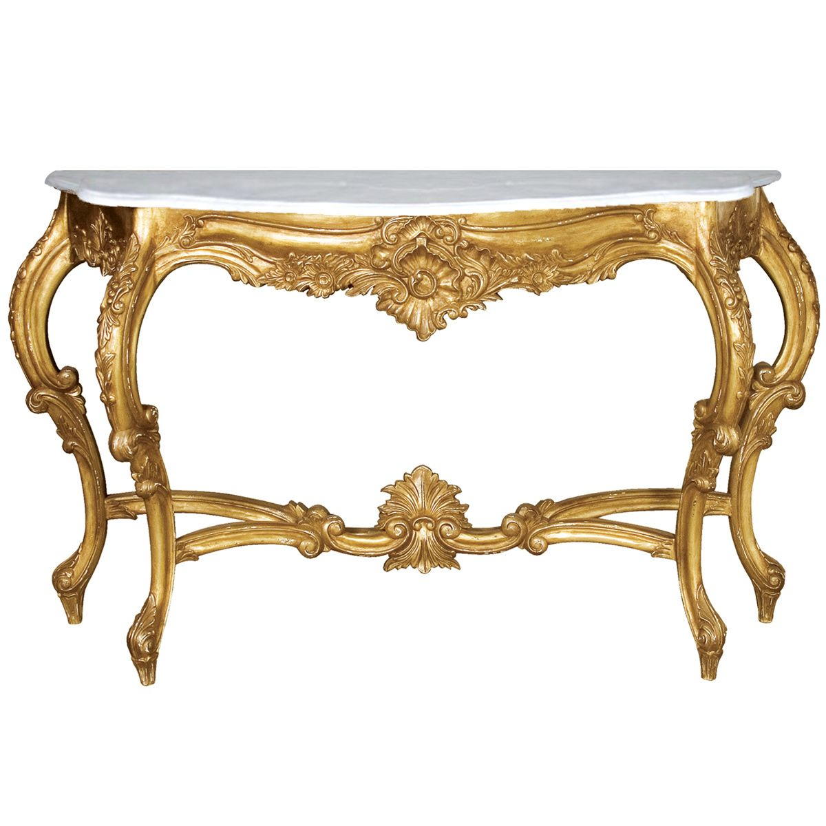 Antique Furniture Solid Mahogany French Versailles Style Gilt Marble Top Carved Console Hall Table