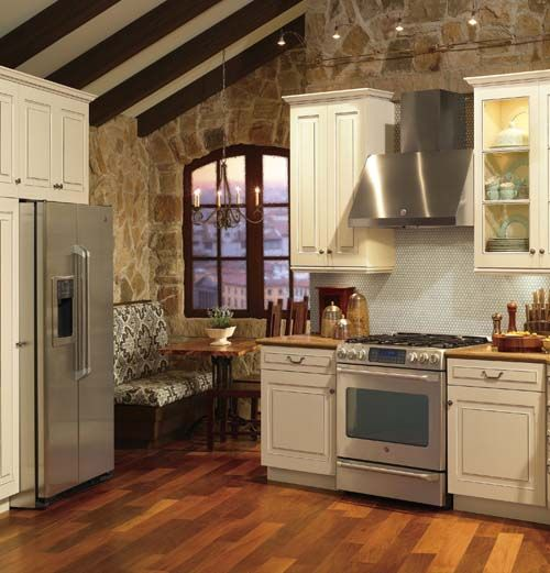 fabulous black kitchen cabinets floor | GE Café #kitchen with #breakfast nook, maple cabinets and ...