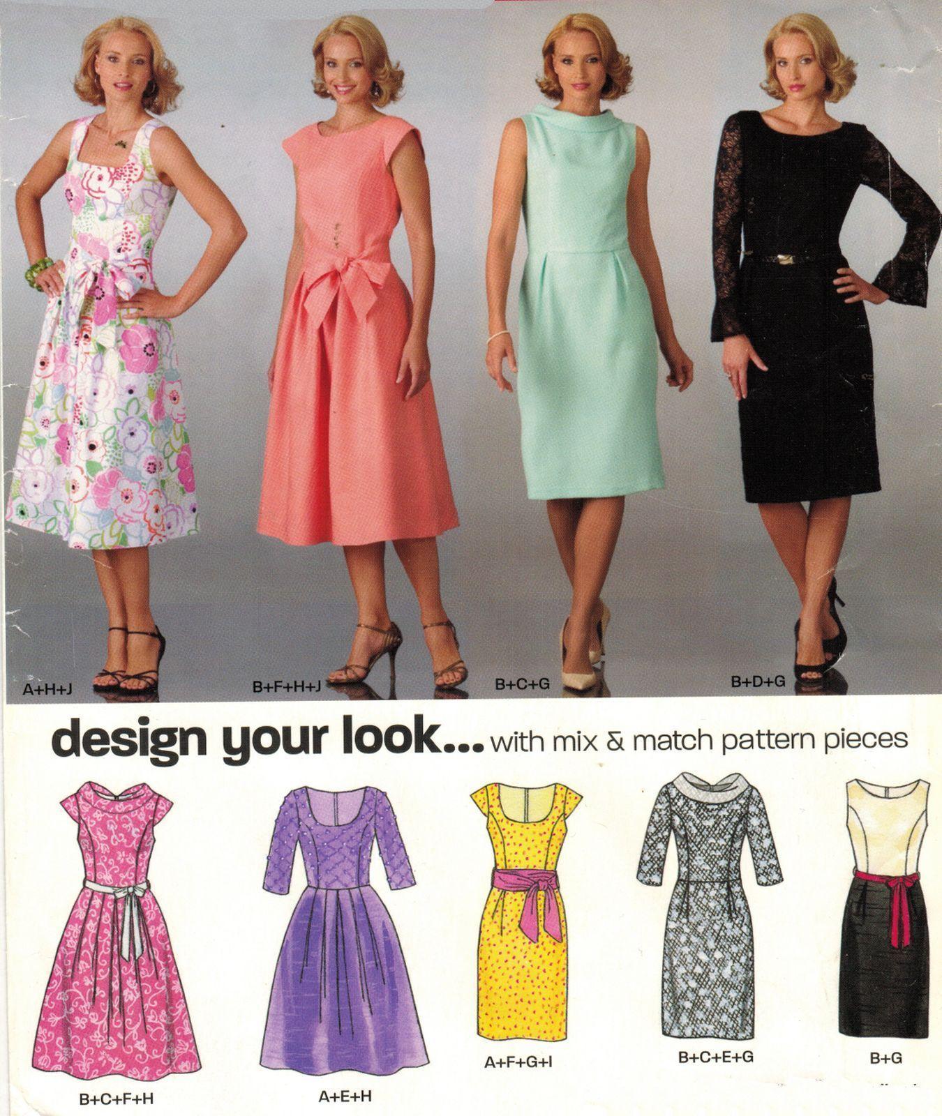 Misses Retro Mix Match Sleeve Neck Bodice Skirt Variation Dress Sew ...