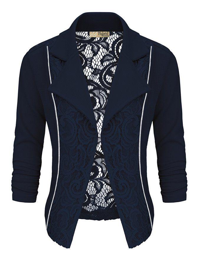 Women's Casual Work Lace Blazer KJK1140 NAVY S