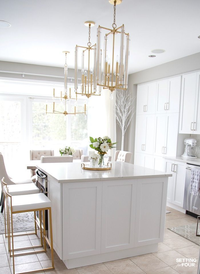Dream kitchen ideas caesarstone quartz countertop with white cabinets gold and crystal pendant lights also best beautiful renovation design images in rh pinterest