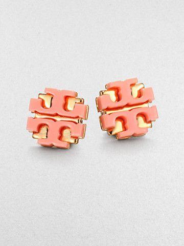 Tory Burch Enamel Large Logo Stud Earrings