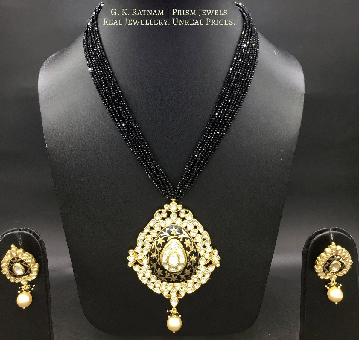 Pendant set india jewelry pinterest pendant set black enamel
