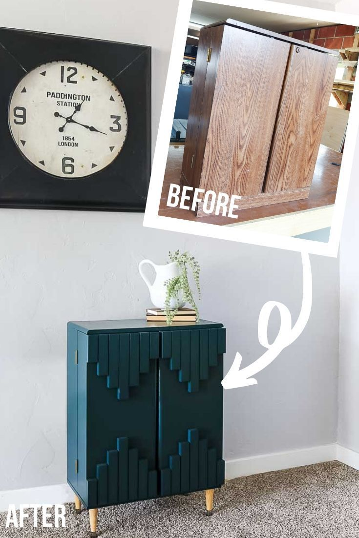 Photo of $3 Laminate Cabinet Transformed Into Green Boho Style Cabinet