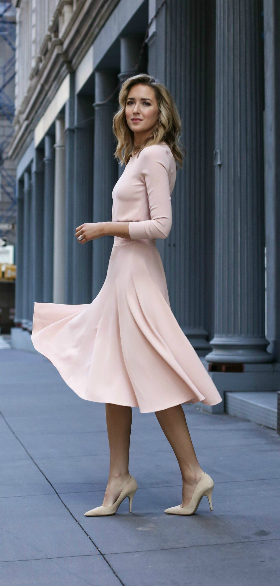 bf75f2fbae081 Pale blush pink midi dress with blouson top above ruched waist line, full  circle flare skirt, nude suede classic pointy to pumps