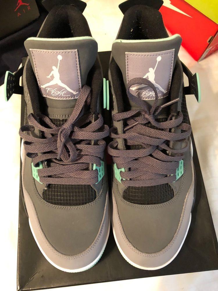 2a77072aaccf Nike Air Jordan IV 4 Retro Dark Grey Green Glow-Cement Grey-Blk ...
