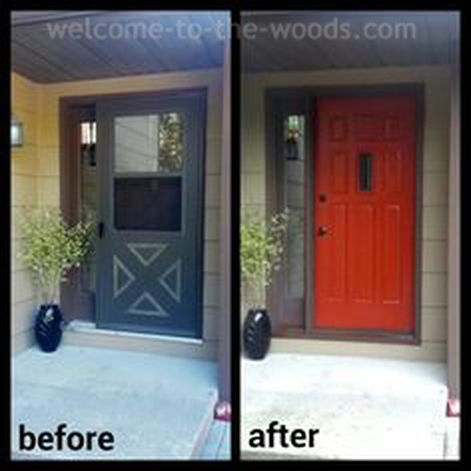 Paint Front Door Red | Door makeover, Storm doors and Front entrances
