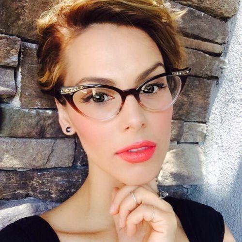 Women/'s Half Frame Cat Eye Glasses Clear Lens 50s Vintage Retro Eyeglasses Pink