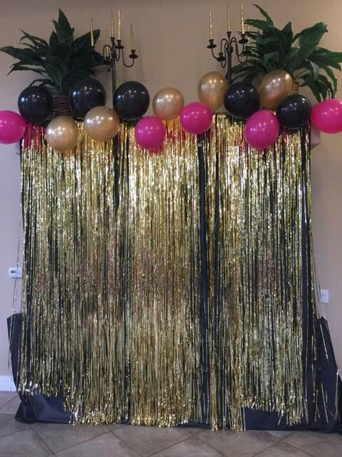 Black And Gold Back Drop 55th Birthday 18th Party 50th