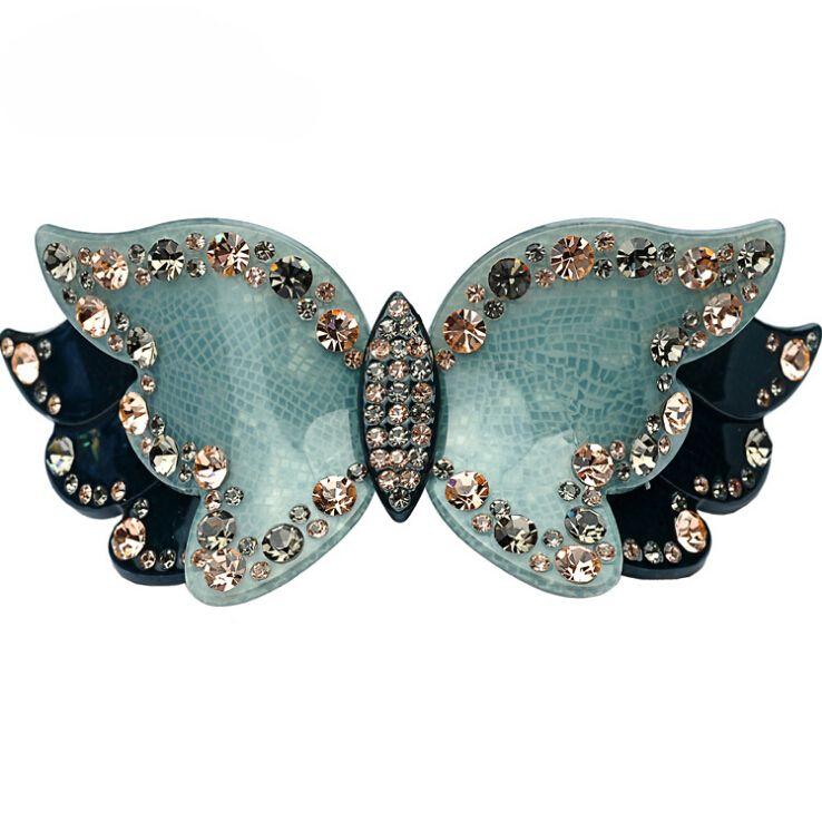 High-end Luxurious Butterfly Rhinestone Barrette Splendidly Acrylic