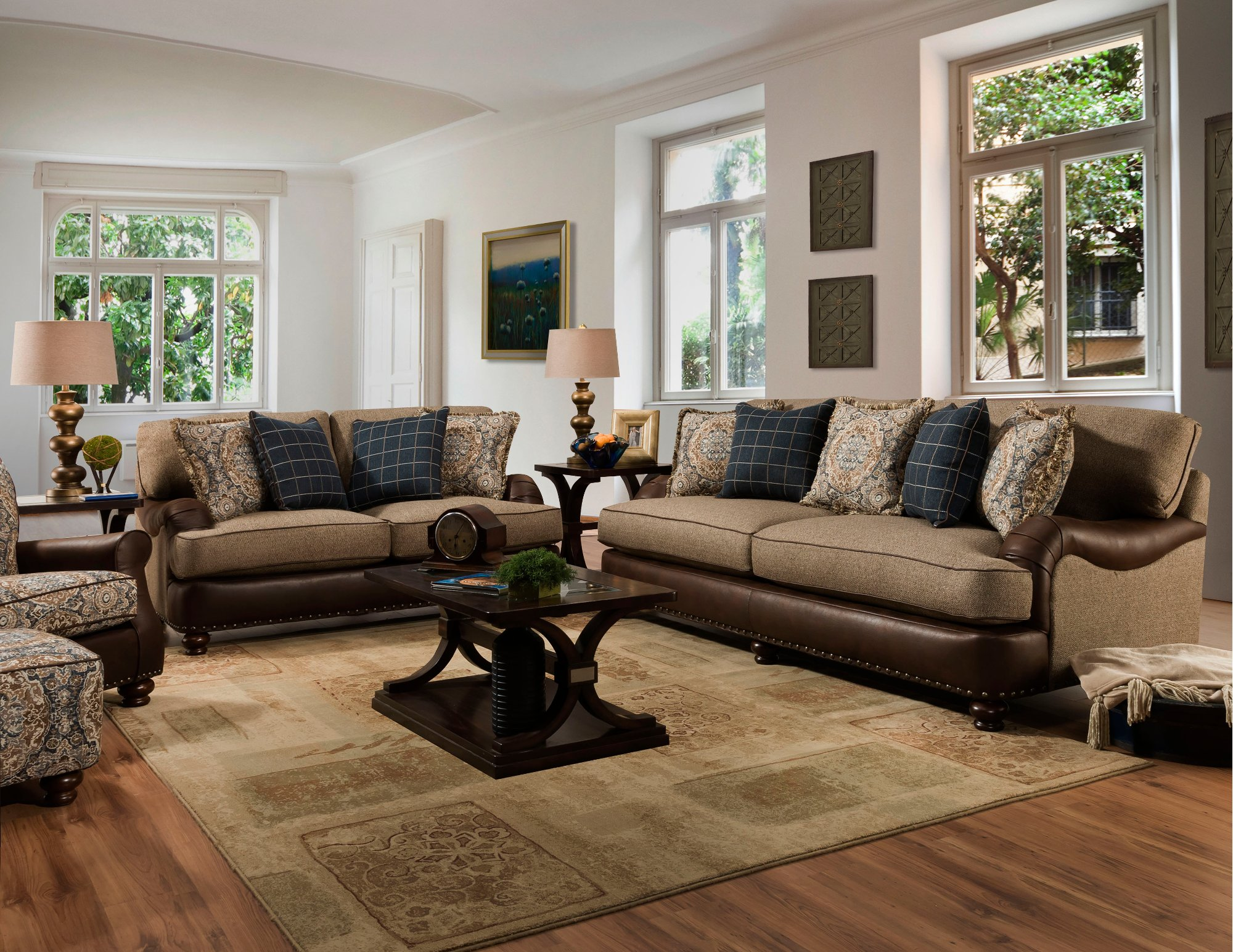 Traditional Two Tone Brown Sofa Cognac Rc Willey Furniture Store In 2020 Brown Living Room Comfortable Living Rooms Brown Living Room Decor