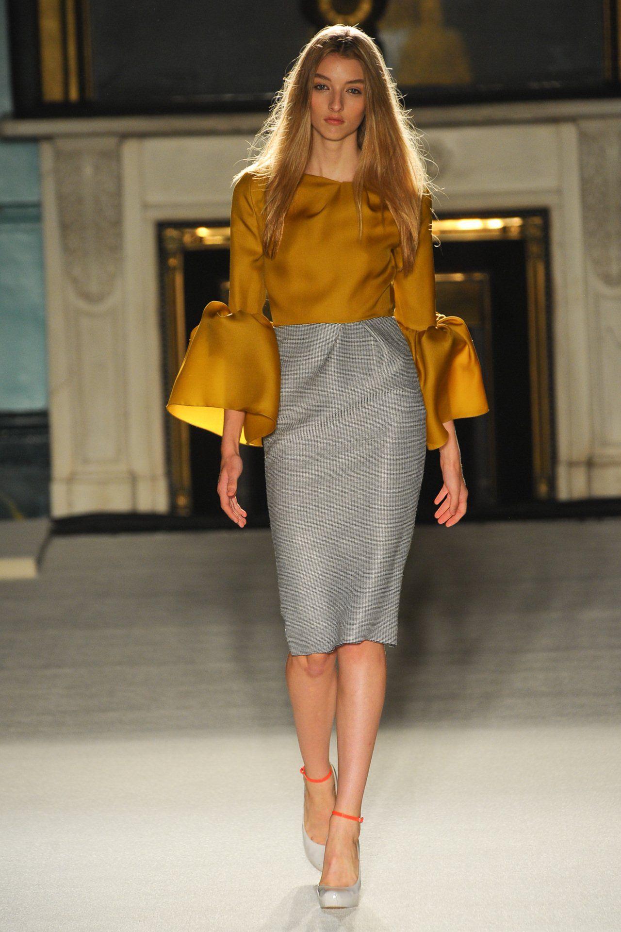 Roksanda Ilincic puffed sleeves unusual long sleeves pencil skirt sophisticated and smart ...