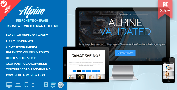 Alpine - Responsive One Page Joomla Template   Template, Website and ...
