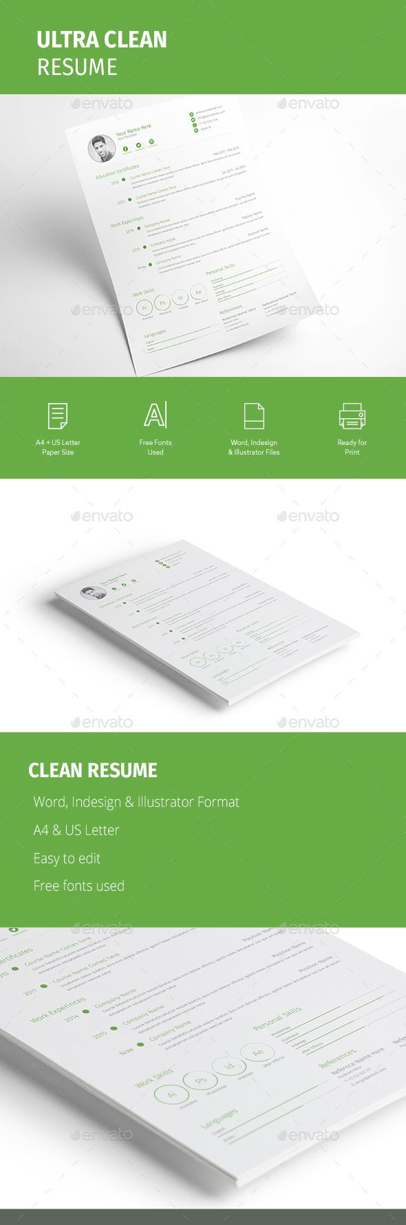Ultra Clean Resume    Microsoft Word Template And Simple