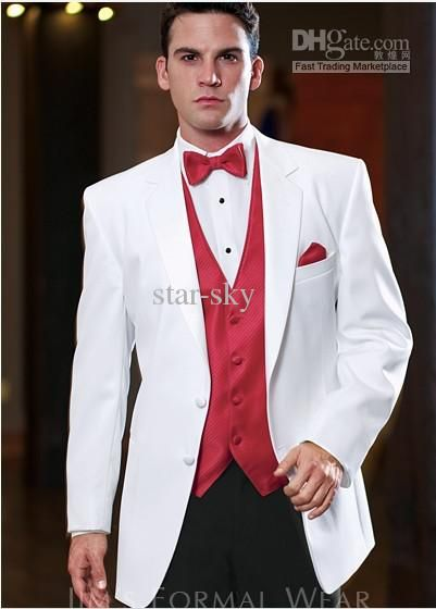 f40ca523788 White Jacket Black Trousers Groom Tuxedos Man s Suit Jacket+Pants+Vest+Tie+Kerchief  DH 289 Online with  86.58 Piece on Star-sky s Store