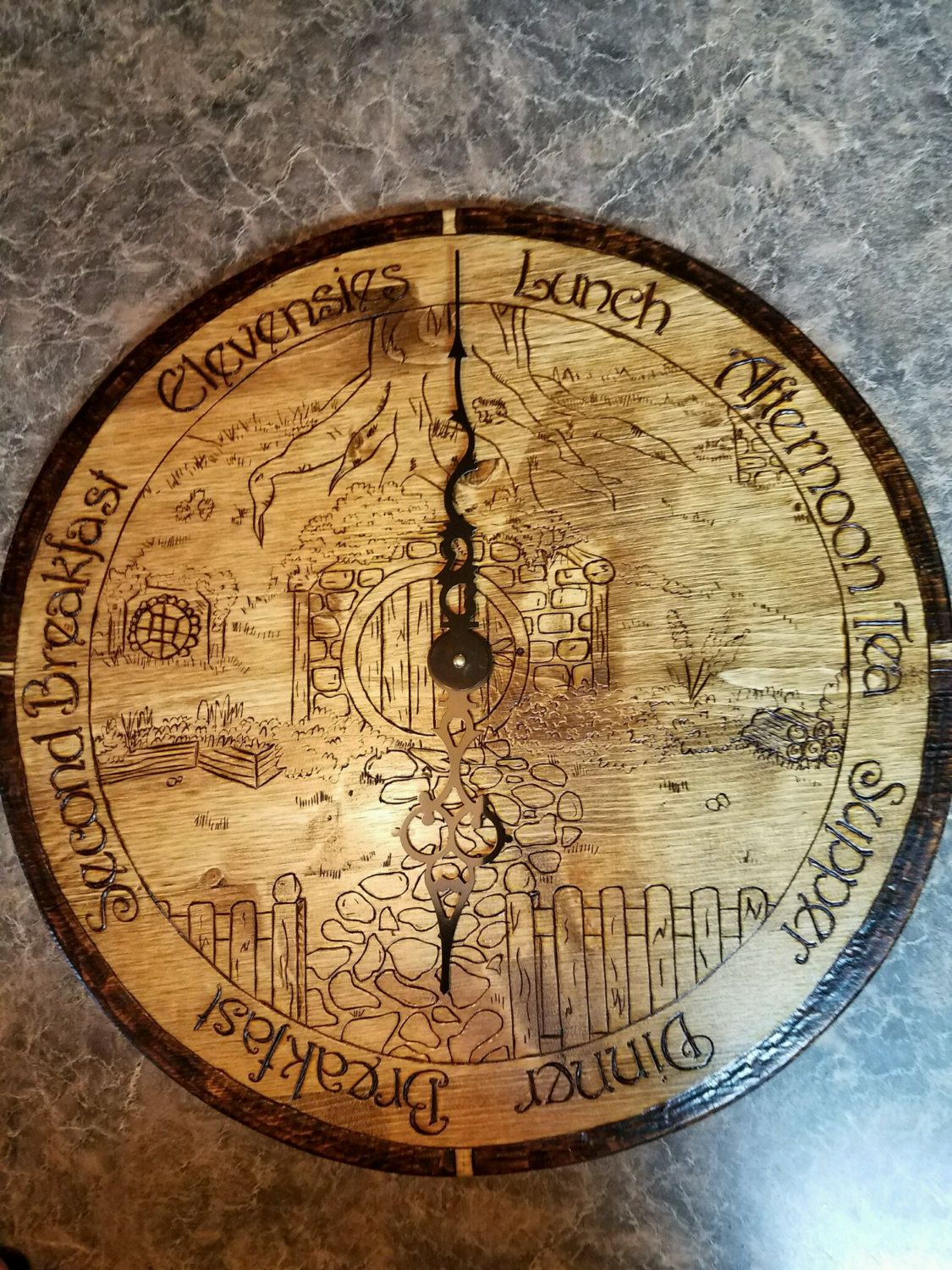 Map For Lord Of The Rings%0A Hobbit Clock  Lord of the Rings Clock  Second Breakfast Clock  Wall Clock