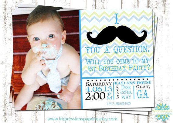 Mustache Man A Customizable Photo Birthday Invitation by Best