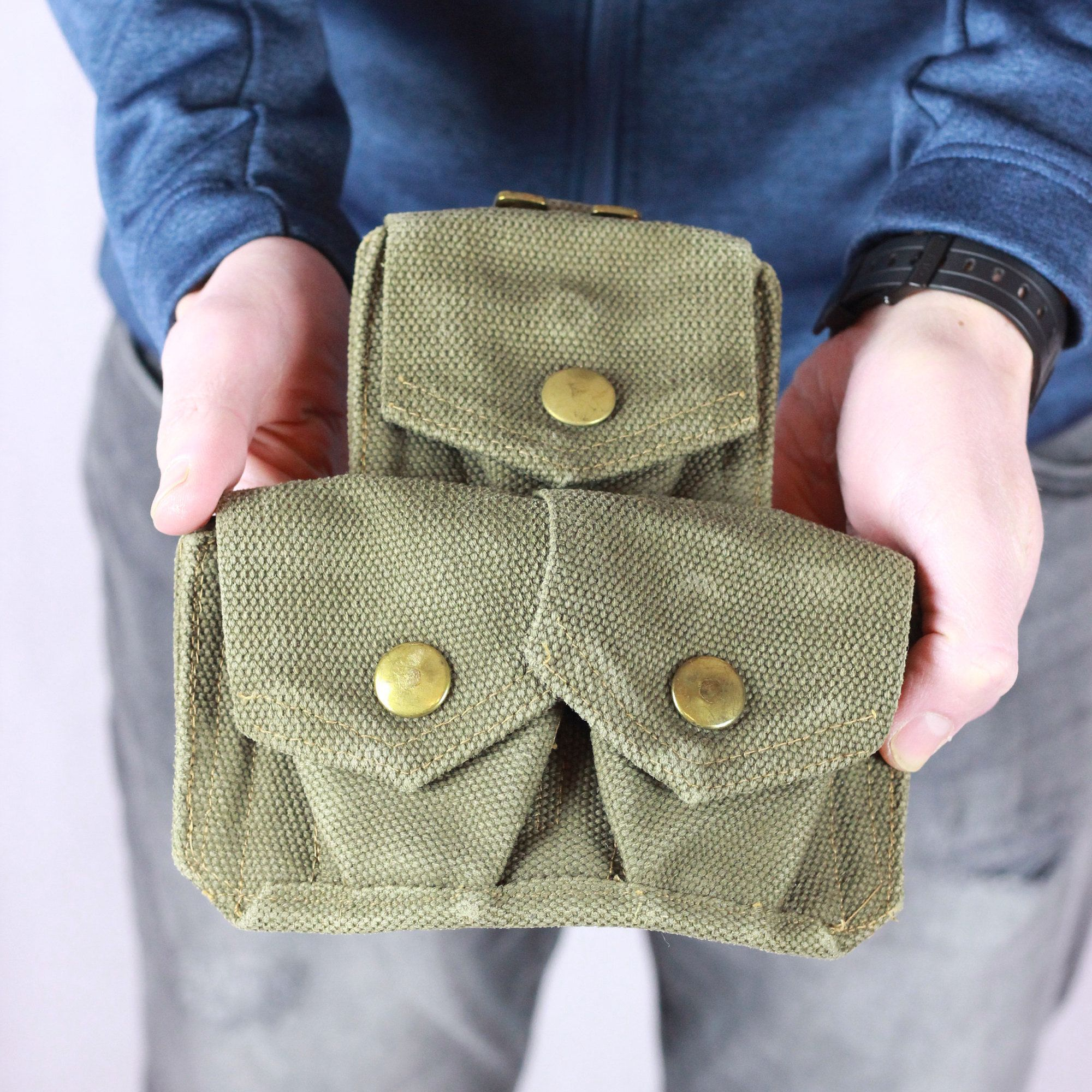 Small Canvas Pouch, Camping Gear, Army Surplus, Ammo Pouch, Belt