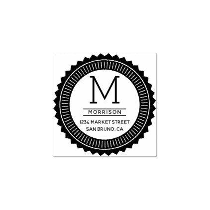 Monogram | Modern Typography Badge Return Address Rubber Stamp - monogram gifts unique custom diy personalize