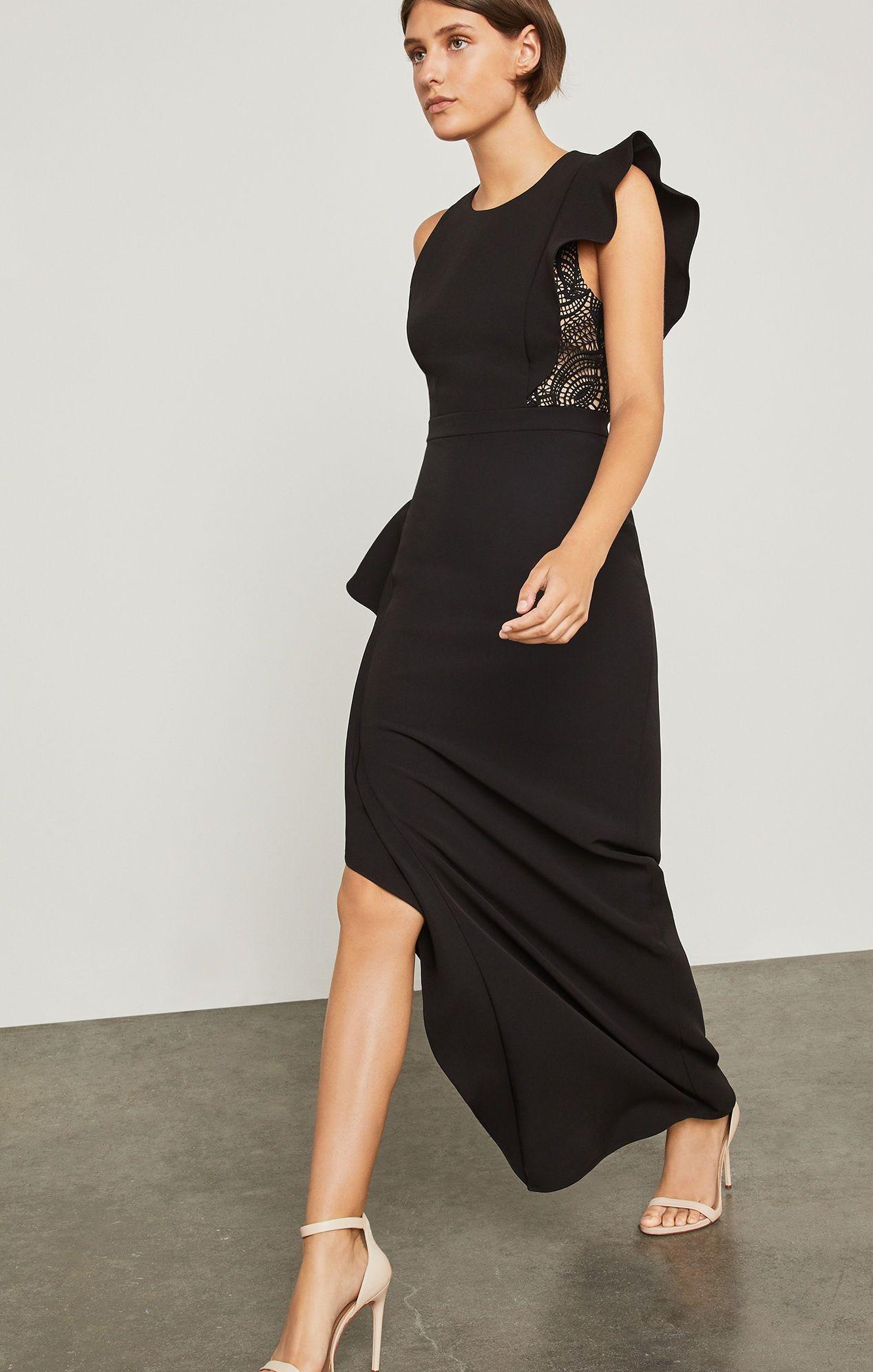 Marcelle Asymmetrical Ruffle Gown Mode, Crêpe