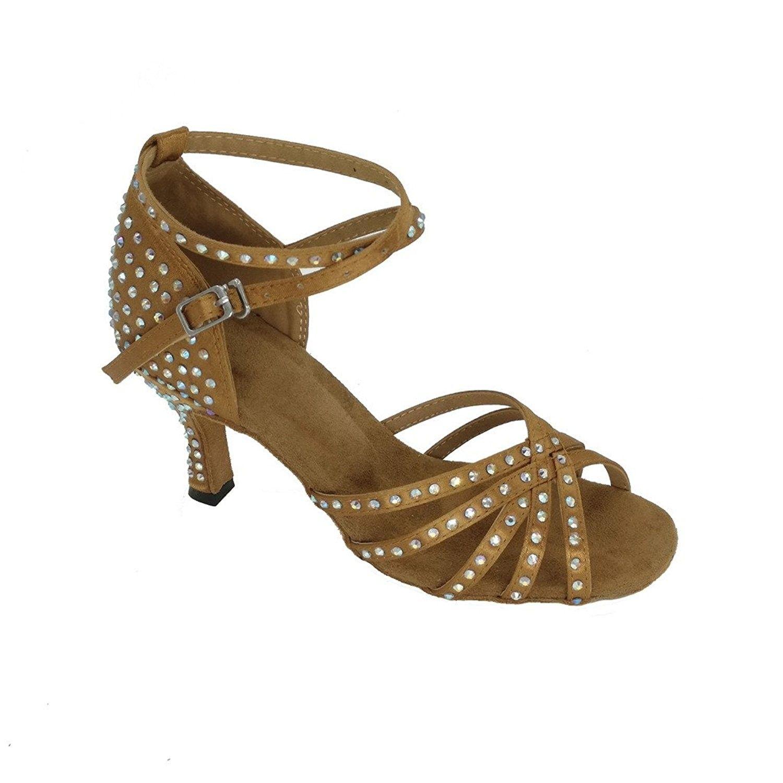 ed0088f9872 Womens Open Toe Sandals Latin Salsa Tango Heels Practice Ballroom Dance  Shoes With 2.7